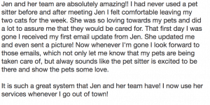 San Diego Pet Sitter and Dog Walker Yelp Review